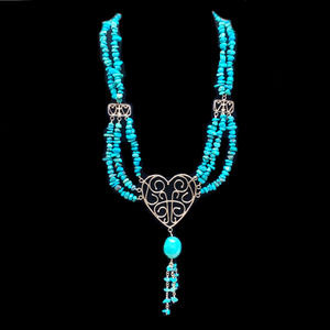 Vtg Jay King 925 Sterling Silver & Turquoise Heart Pendant Necklace DTR Stamp